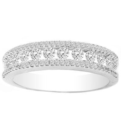 Genevieve Pave Diamond Wedding Band in 14K White Gold; 0.60 ctw