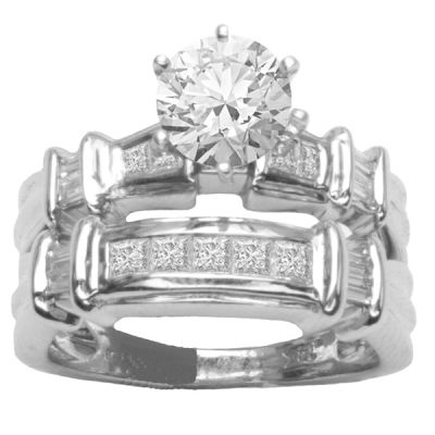Diamond Engagement Ring Set in 14K White Gold- Aurelie; 1.00 ctw