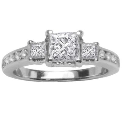 14K White Gold Diamond Engagement Ring Set; Diamond Weight: 1.50 ctw  CENTER DIAMOND INCLUDED