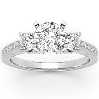 Reign Three Stone Pave Diamond Ring in 14K White Gold; 1.20 ctw
