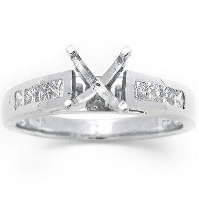 14K White Gold Diamond Engagement Ring; Diamond Weight: 0.55 ctw