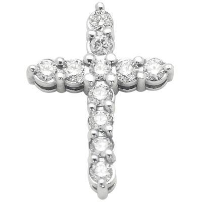 14K White Gold Diamond Pendant; Diamond Weight: 0.50 ctw