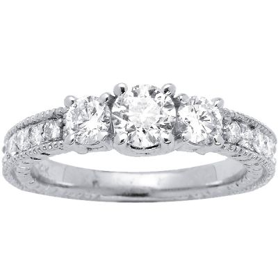 Three Stone Diamond Engagement Ring in 14k White Gold- Vila; 1.10 ctw