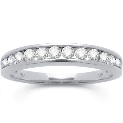 14K White Gold Diamond Wedding Band; Diamond Weight: 0.50 ctw