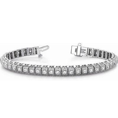 14K White Gold Diamond Bracelet; Diamond Weight: 3 ctw