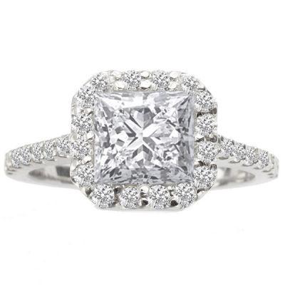 Princess Halo Diamond Engagement Ring; 1.50 ctw