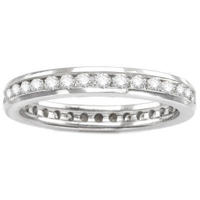 14K White Gold Channel Set Diamond Eternity Wedding Band; 0.75 ctw
