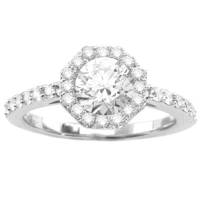 Unique Halo Diamond Engagement Ring in 14K White Gold; .25 ctw