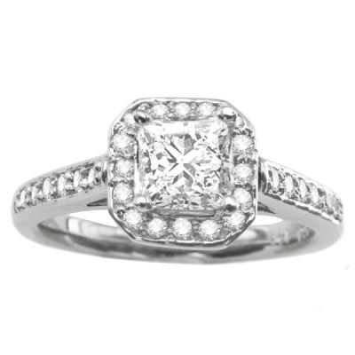 14K White Gold Diamond Engagement Ring; Diamond Weight: 0.40 ctw Center Diamond Not Included