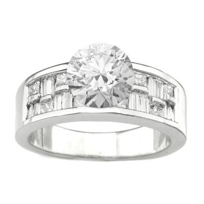 14K White Gold Diamond Engagement Ring; Diamond Weight: 0.80 ctw Center Diamond Not Included CLOSEOUT