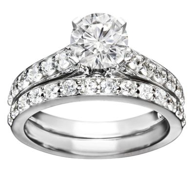 Engagement Ring Set in 14K White Gold; 0.90 ctw
