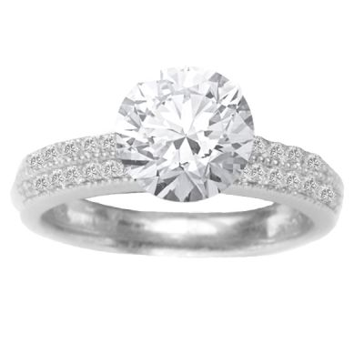 Pave Diamond Engagement Ring in 14K White Gold: 0.35 ctw
