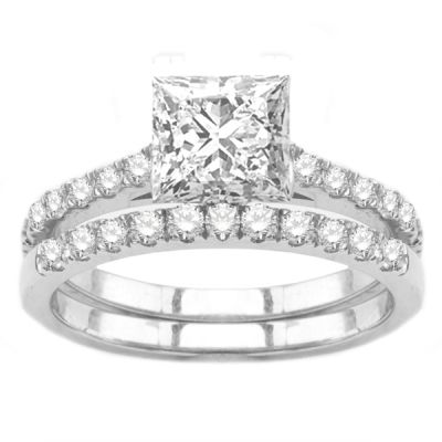 Engagement Ring Set in 14K White Gold; 0.65 ctw