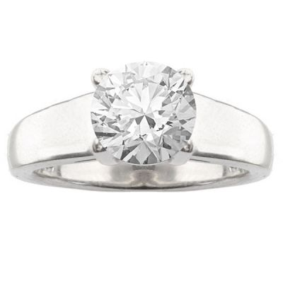 Elia Solitaire Ring Setting in 14K White Gold
