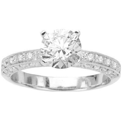 Florance Antique Engagement Ring in 14K White Gold; 0.50 ctw