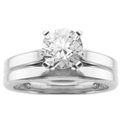 Chanel Solitaire Engagement Ring Set in 14K White Gold