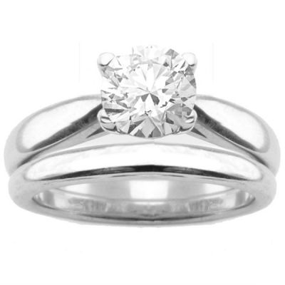 Jessalyn Solitaire Engagement Ring Set in 14K White Gold