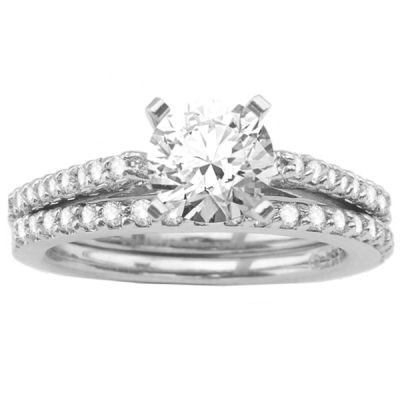 Engagement Ring Set in 14K White Gold; 0.40 ctw