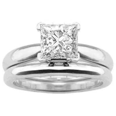 Gabriela Solitaire Engagement Ring Set in 14K White Gold