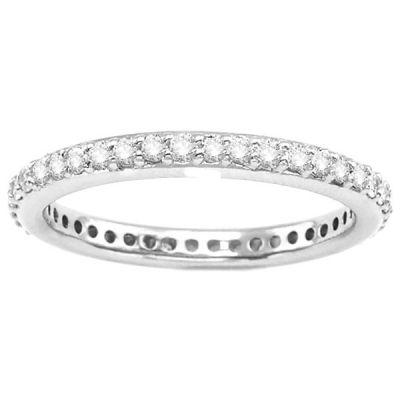 14K White Gold Diamond Eternity Wedding Band; .50 ctw