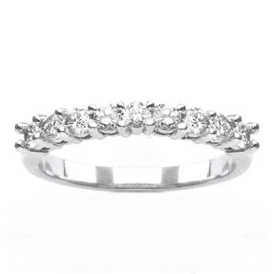 14K White Gold Diamond Wedding Band; Diamond Weight: 0.60 ctw