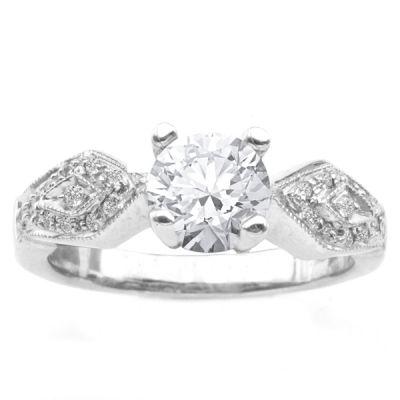 14K White Gold Diamond Engagement Ring; Diamond Weight: 0.15 ctw Center Diamond Not Included