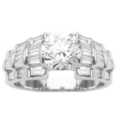 14K White Gold Diamond Engagement Ring; 1.50 ctw Center Diamond Not Included