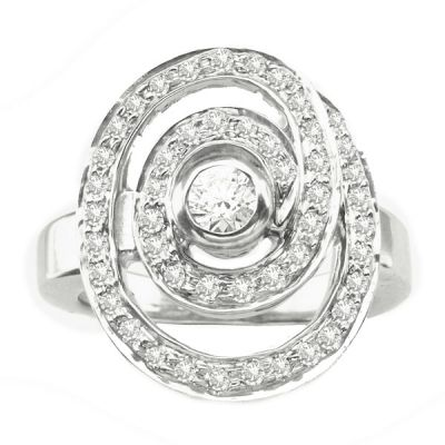 14K White Gold Fashion Ring; Diamond Weight .75 ctw