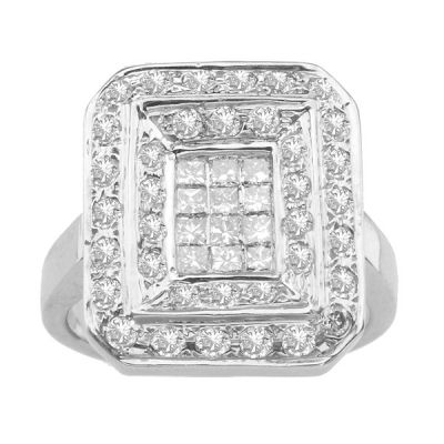 14K White Gold Fashion Ring; Diamond Weight 1.15 ctw