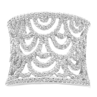 14K White Gold Designer Band; Diamond Weight: 1.20 ctw