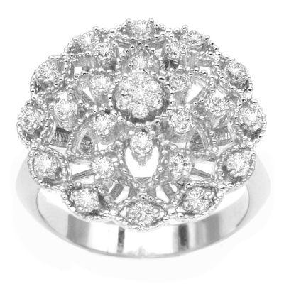 14K White Gold Diamond Fashion Ring; Diamond Weight: 0.60 ctw
