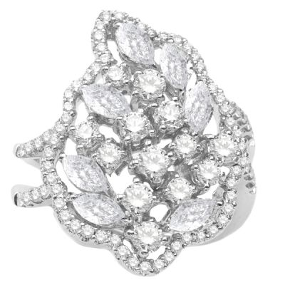 14K White Gold Diamond Fashion Ring; Diamond Weight: 2.50 ctw