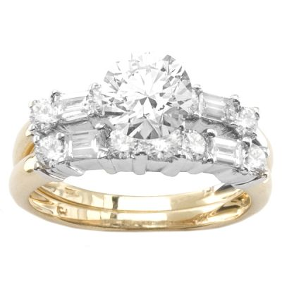 14K Two-Tone Diamond Engagement Ring; Diamond Weight: 0.90 ctw Center Diamond Not Included