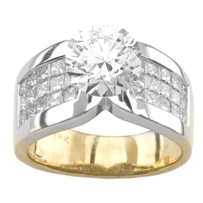18k Two-Tone Diamond Engagement Ring;  Diamond Weight: 1.2 ctw Center Stone Not Included