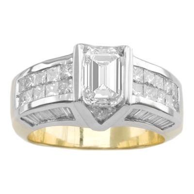 14k Two-Tone Diamond Engagement Ring;  Diamond Weight: 2.62 ctw Center Stone Not Included