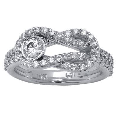 14K White Gold Love Knot Diamond Ring; Diamond Weight: 0.60 ctw