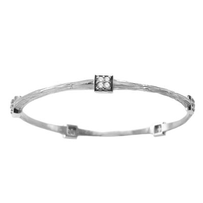 14K White Gold Diamond Bangle; Diamond Weight: 0.60 ctw