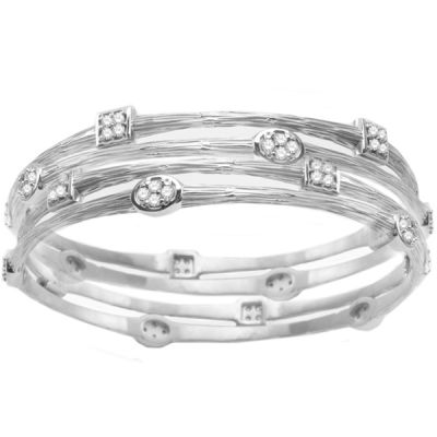14K White Gold Stackable Diamond Bangles; Diamond Weight: 0.60 ctw