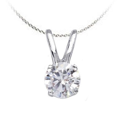 Solitaire Diamond Pendant in 14K White Gold; Shown with 25ctw