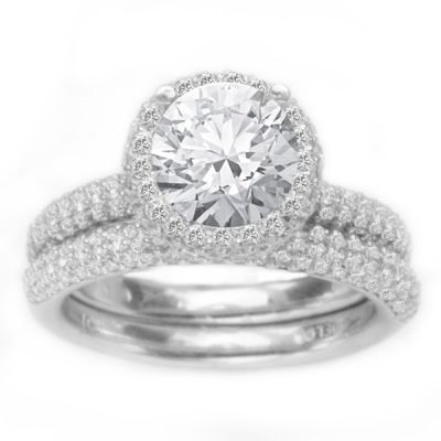 14K White Gold Diamond Engagement Ring Set; Diamond Weight: 1 ctw Center Diamond Not Included