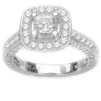 14k White Gold Diamond Engagement Ring ; Diamond Weight: .50ctw Center stone not included