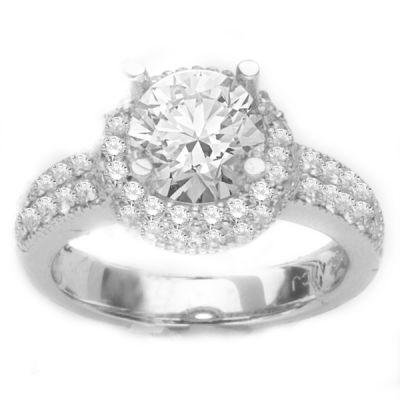 14K White Gold Diamond Engagement Ring; Diamond Weight: 1 ctw Center Diamond Not Included