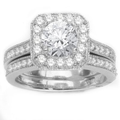 Diamond Engagement Ring Set in 14K White Gold; 0.70 ctw