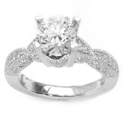 Tabitha Pave Engagement Ring in 14K White Gold; .50 ctw