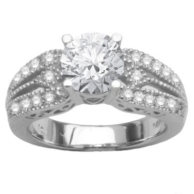 14K White Gold Pave Engagement Ring; 0.36 ctw