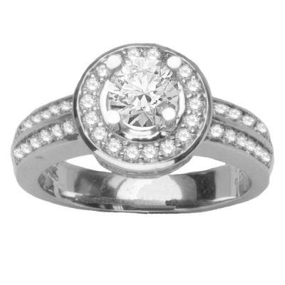 14K White Gold Diamond Pave Engagement Ring; Diamond Weight: 0.75 ctw Center Diamond Sold Separately