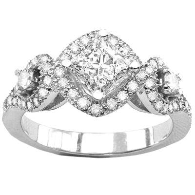 14K White Gold Diamond Pave Engagement Ring; Diamond Weight: 0.60 ctw