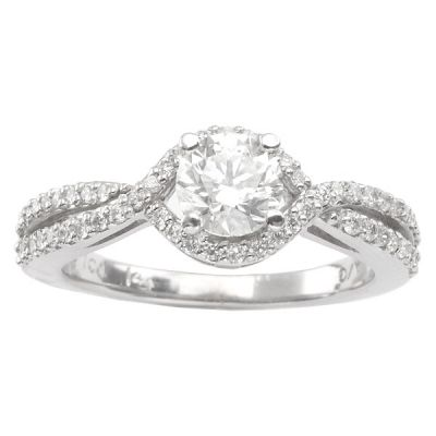 14K White Gold Diamond Engagement Ring; 0.32 ctw