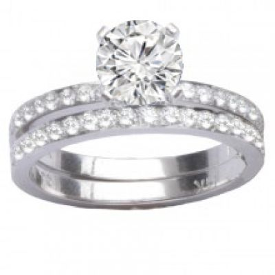 Engagement Ring Set in 14K White Gold: 0.62 ctw
