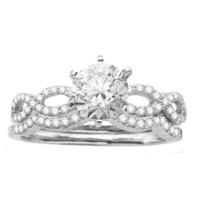 14K White Gold Diamond Engagement Ring and Wedding Band; Diamond Weight: 0.55 ctwCenter Diamond Not Included
